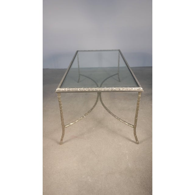 Neoclassical Large Silvered Bronze Cocktail Table by Maison Baguès For Sale - Image 3 of 9