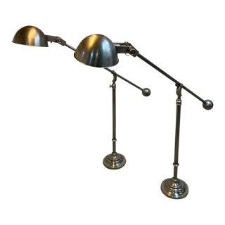 Edwardian Boom Arm Nickel Floor Lamp - a Pair For Sale