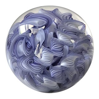 Purple and White Ribbon Paper Weight Signed For Sale