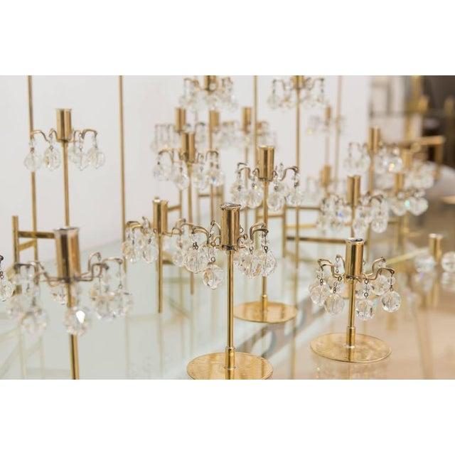 Mid 20th Century J. & L. Lobmeyr Brass and Swarovski Crystal Candlesticks - 15 Piece For Sale - Image 5 of 11