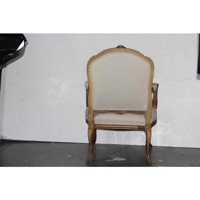 1950s 1950s Louis XV French Beige Arm Chair For Sale - Image 5 of 6