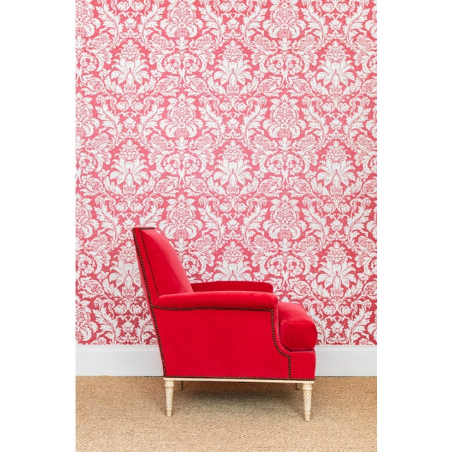 Red A Pair of Louis XVI Style Armchairs by Carlhian, France, C. 1940. Newly Upholstered in a Vibrant Rouge Velvet For Sale - Image 8 of 8