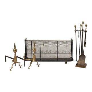 Early 19th Century New England Wrought Iron, Wire and Brass Fireplace Set - 7 Piece Set For Sale