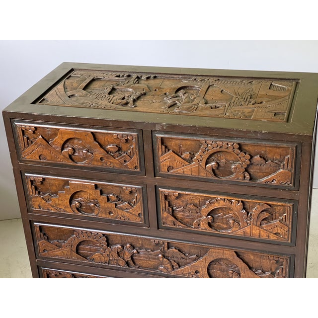Chinoiserie Carved Camphor Wood Batchelor's Chest For Sale - Image 4 of 13