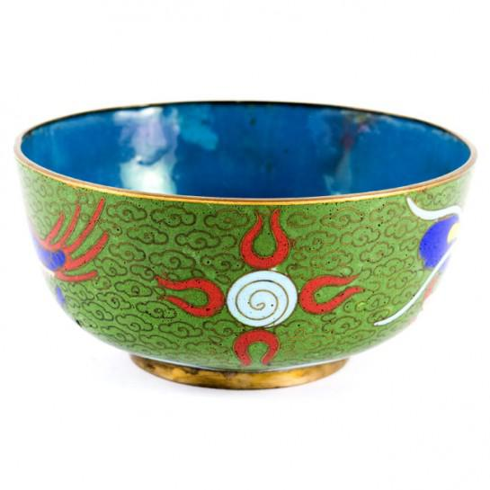 Asian 19th Century Antique Chinese Cloisonne Dragon Bowl For Sale - Image 3 of 11