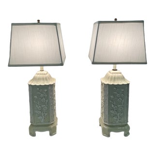 Pagoda Shaped Italian Ceramic Table Lamps With Bamboo and Flowers -A Pair For Sale