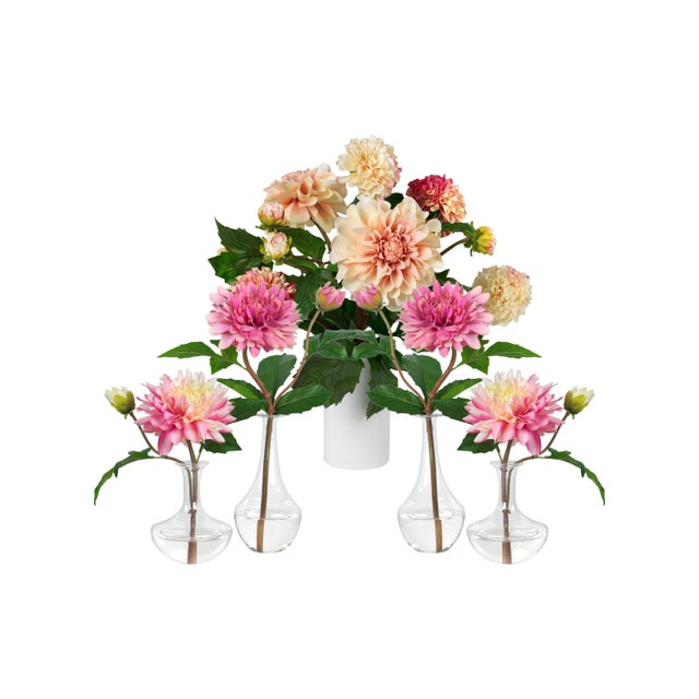 Exclusively on Chairish from Diane James, this set of faux pink dahlias will brighten up any spring table. Set includes: 2...