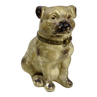 Antique American Chalkware Pug Dog Figure For Sale