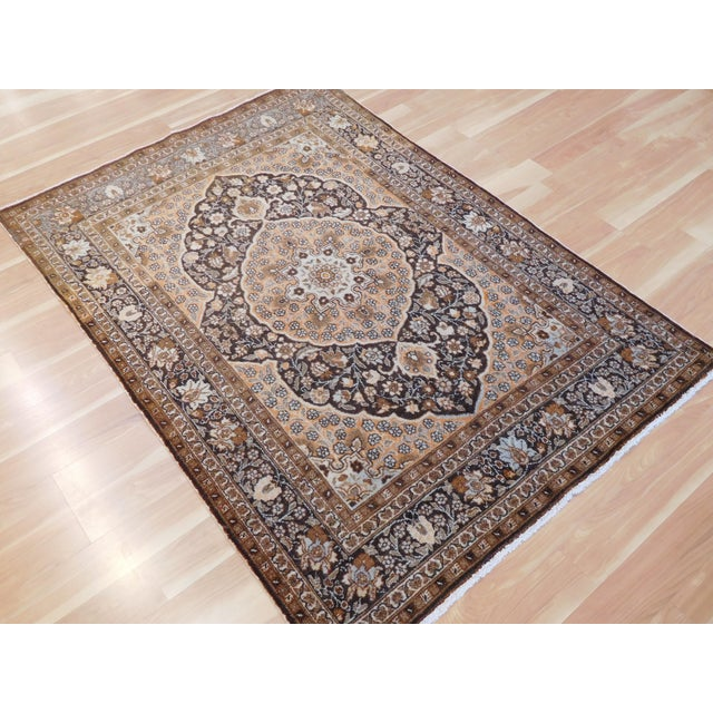 """Antique Persian Tabriz Rug - 4' x 5'4"""" For Sale - Image 4 of 6"""