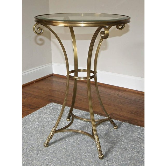 Traditional 1980s Vintage Gueridon Brass Paw Footed Table For Sale - Image 3 of 11