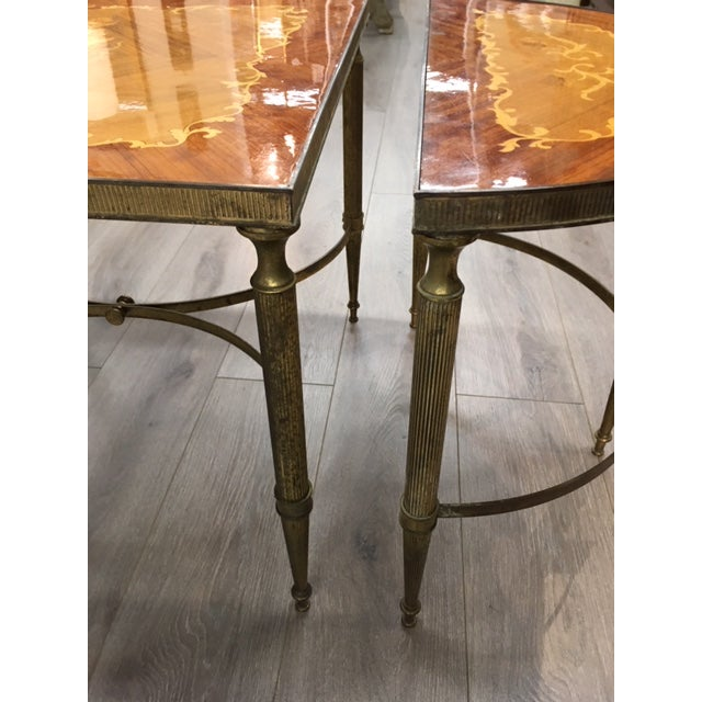 1970s Mastercraft Inlay Wood Three Piece Coffee Table For Sale - Image 5 of 6