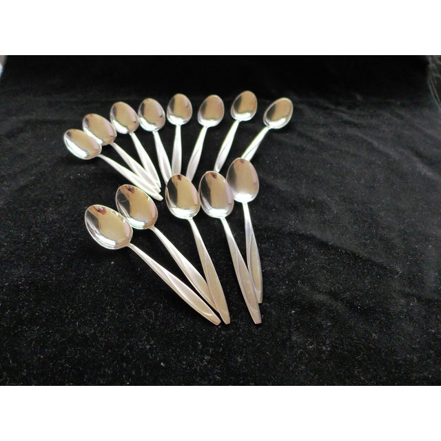 Mid-Century Modern Mid Century Stainless Steel Dessert/Tea Spoons Roneusil Germany - Set of 13 For Sale - Image 3 of 9