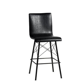 Black Leather & Iron Counter Stool For Sale