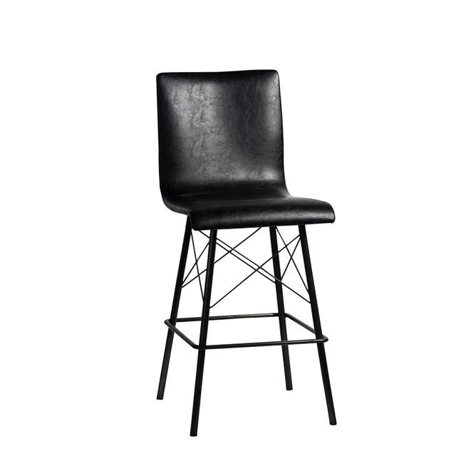 Black Leather & Iron Counter Stool - Image 1 of 2