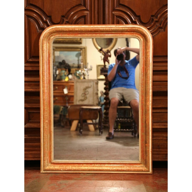Mid 19th Century Mid-19th Century French Louis Philippe Red and Gilt Wall Mirror With Greek Motif For Sale - Image 5 of 7