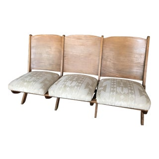 1930s Folding Upholstered Theatre Seats / Bench