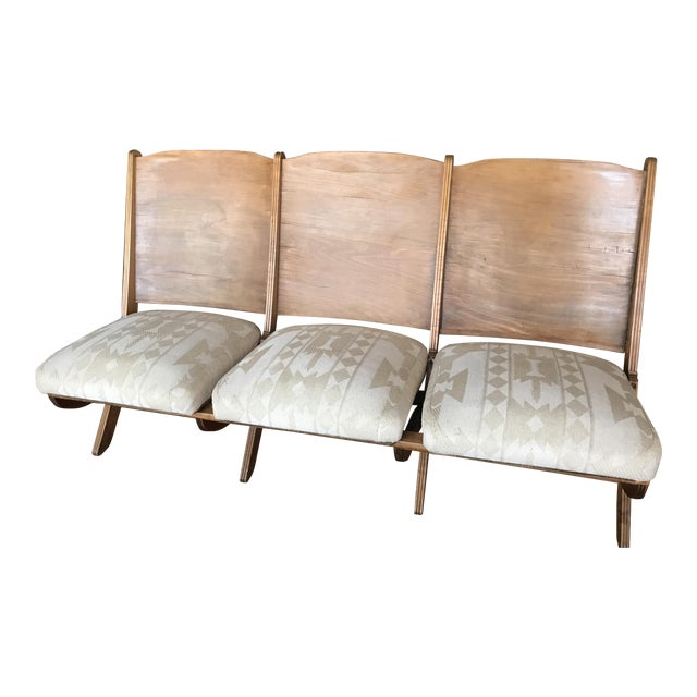 1930s Folding Upholstered Theatre Seats / Bench - Image 1 of 5