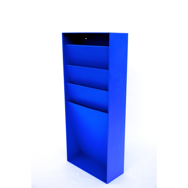 Contemporary Mid-Century Industrial Steelcase Electric Blue Wall Mount File Rack For Sale - Image 3 of 10