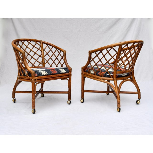 Ficks Reed Chinoiserie Chinese Chippendale Rattan Barrel Chairs on Casters For Sale - Image 4 of 13