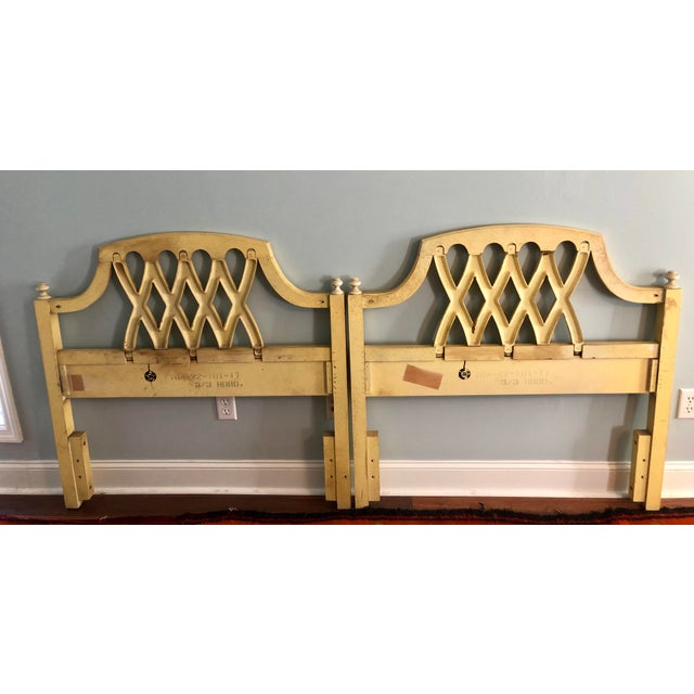 Yellow Mid-Century Yellow Lattice Chippendale Twin Headboards- a Pair For Sale - Image 8 of 10