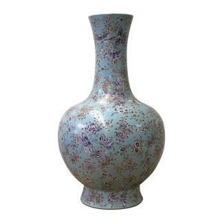 Chinese Light Blue Print Flower Butterflies Porcelain Vase For Sale