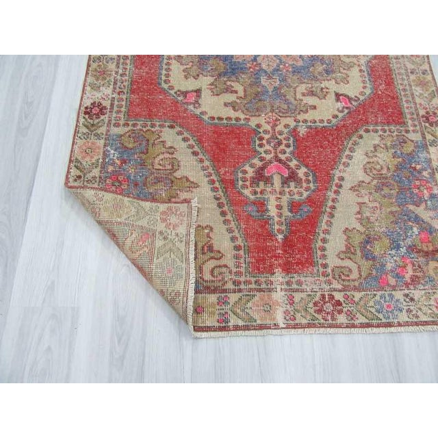 Distressed Turkish Konya Area Rug - 4′5″ × 7′4″ For Sale In Los Angeles - Image 6 of 6