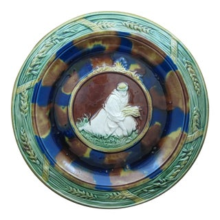 19th C. Majolica Bread Tray, Ruth Gathering Wheat For Sale