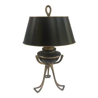 Vintage Art Deco Hollywood Regency Brass & Black Lamp For Sale