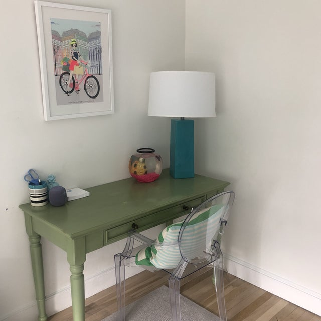 2010s Shabby Chic Pottery Barn Green Wooden Writing Desk For Sale - Image 5 of 7