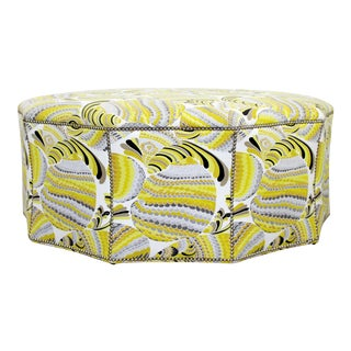Contemporary Postmodern Swaim Studded Upholstered Large Ottoman Foot Stool Seat For Sale