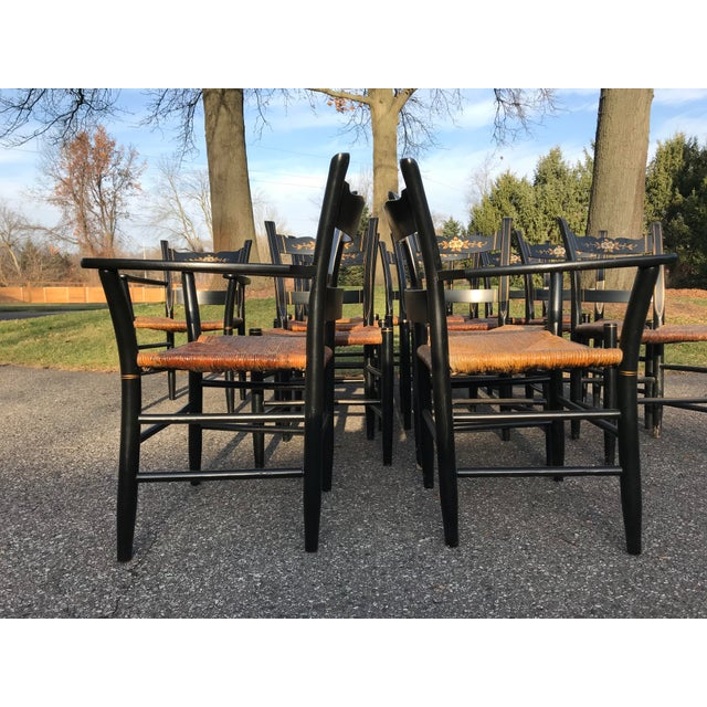 Folk Art Vintage Black and Caned Hitchcock Chairs - Set of 12 For Sale - Image 3 of 11