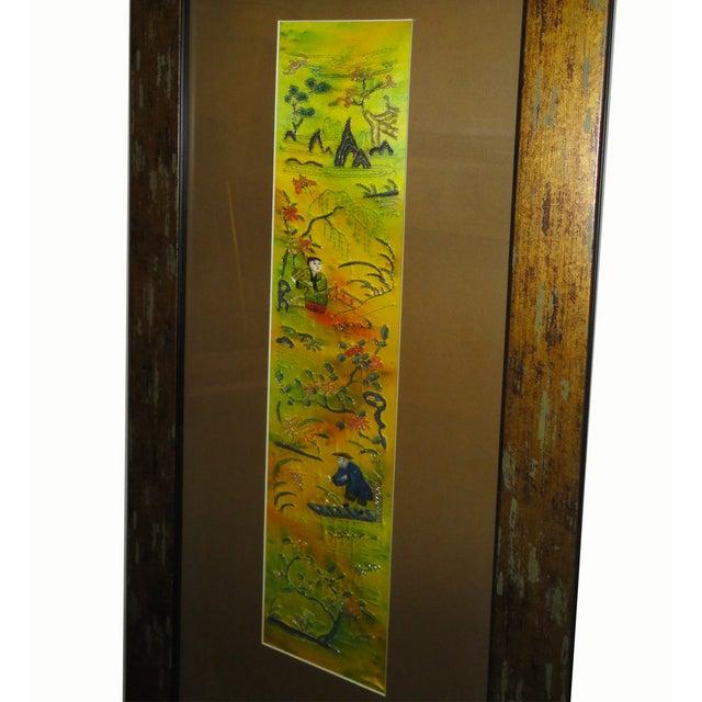 Vintage Hand Embroidered Framed Textile For Sale - Image 5 of 6