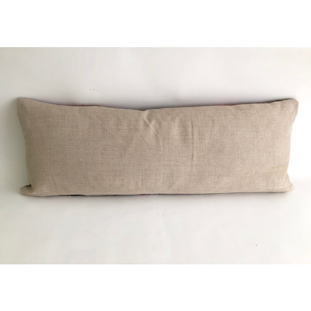 Boho Chic Hand-Woven Silk and Linen Pillow For Sale - Image 3 of 6