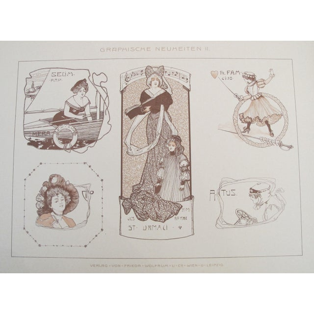 1900s German Decorator Print, Sepia Ladies For Sale