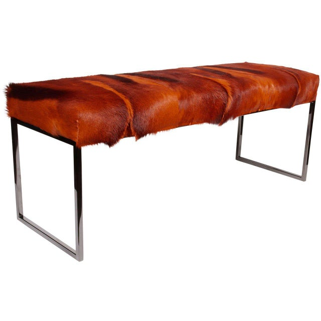 AFRICAN SPRINGBOK FUR BENCH IN VIBRANT BURNT-ORANGE For Sale - Image 11 of 11