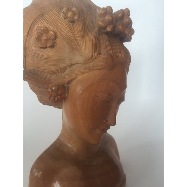 Antique Balinese Hand Carved Satinwood Sculpture of Woman For Sale - Image 5 of 8