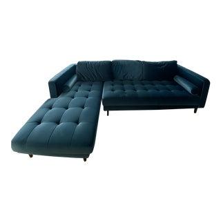 Mid-Century Modern Blue Velvet Sandro Sectional For Sale