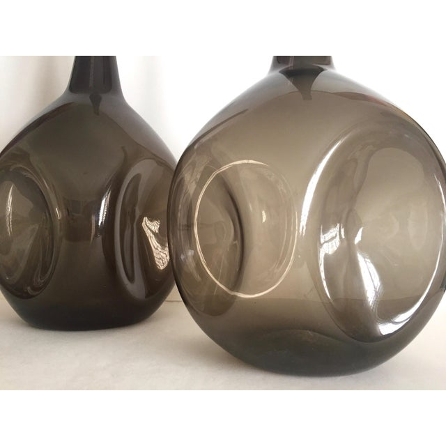 Vintage Mid Century Modern Rare Zeller Art Glass Charcoal Smoke Gray Monumental XL Hand Blown Floor Bottle Dimple Vases - a Pair For Sale In Kansas City - Image 6 of 13