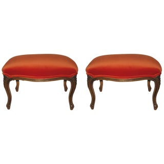 Pair of Carved Wood Stools Upholstered in Velvet For Sale