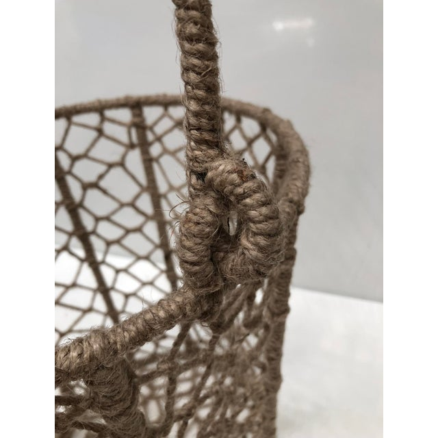 Boho Chic Vintage Handcrafted Woven Jute Rope Buckets - Set of 3 For Sale - Image 3 of 8