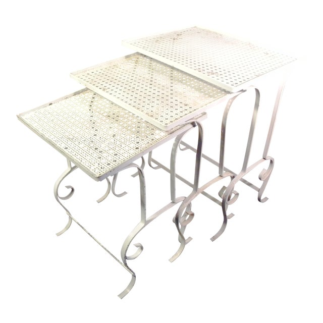 White Metal Nesting Tables - Set of 3 - Image 1 of 8