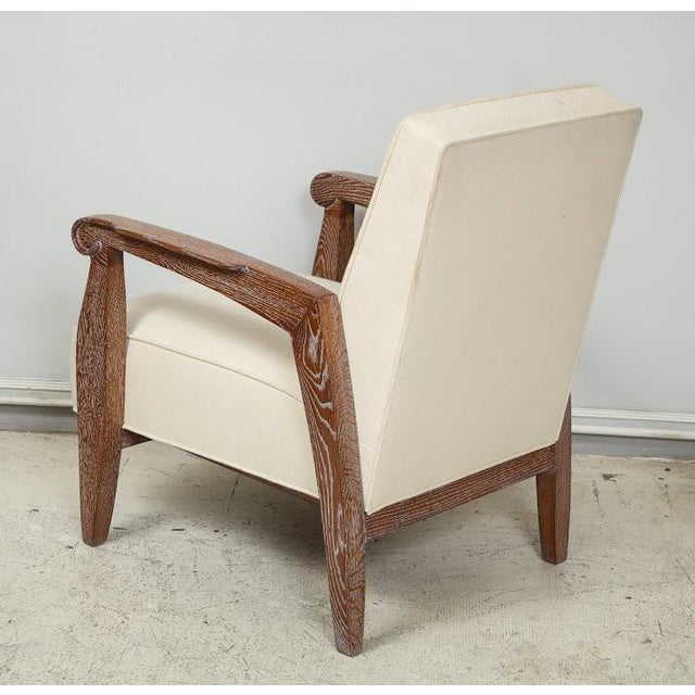 Wood Custom Pair of Cerused Oak Lounge Chairs in the French 40s Manner For Sale - Image 7 of 9