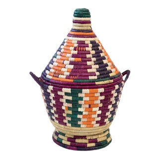 1970s Berber Basket - Multi Color For Sale