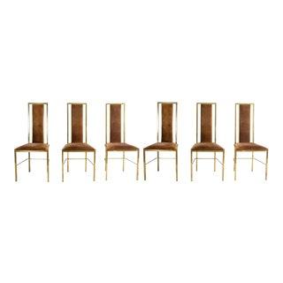Set of 2 Brass and Velvet Romeo Rega Dining Chairs, circa 1970s