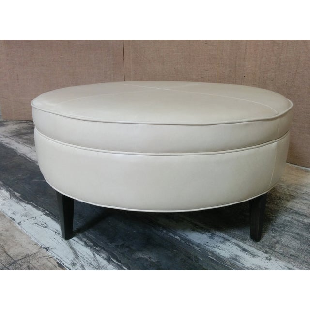 Leather Ottoman Kravet Leather Rushmore-Putty - Image 5 of 7