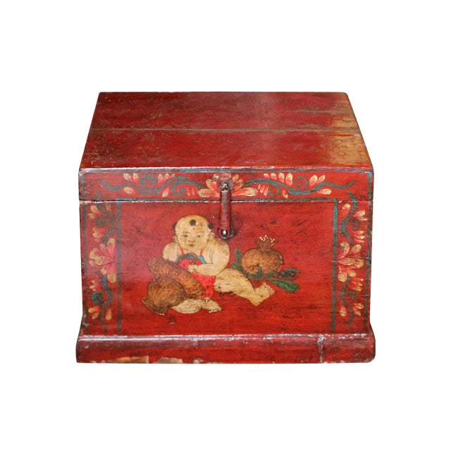 Chinese Vintage Red Kids Theme Trunk Box Chest For Sale
