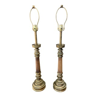 Vintage Stiffel Brass and Wood Table Lamps- a Pair For Sale