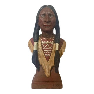 Vintage Native American Bust Statue Crazy Horse Southwestern Decor
