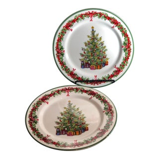 """Traditions Holiday Celebrations Christopher Radko Dinner Plates 11"""" Christmas - a Pair For Sale"""