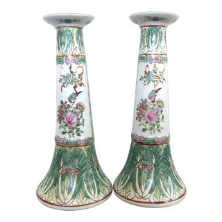 Antique Chinese Chinoiserie Famille Rose Porcelain Canton Candlesticks - a Pair For Sale
